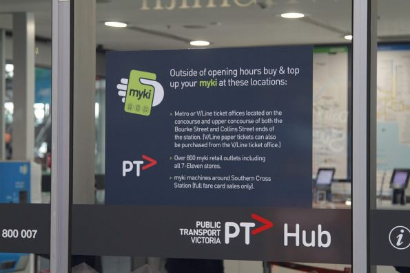 Directions at the Southern Cross PTV hub directing passengers to other myki topup locations
