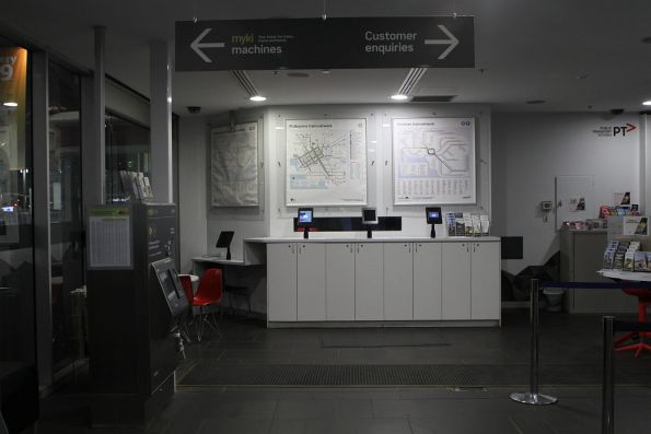 Tablet computers inside the PTV hub at Southern Cross Station