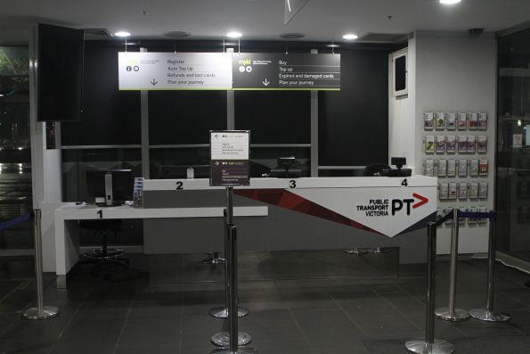 Customer service counter at the PTV hub at Southern Cross Station