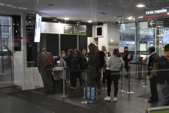 Long lines at the Southern Cross Station PTV Hub