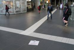 'PTV pop up hub this way' signage at Southern Cross Station