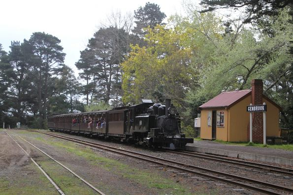 8A leads the daily Gembrook train past the 'original' Gembrook station