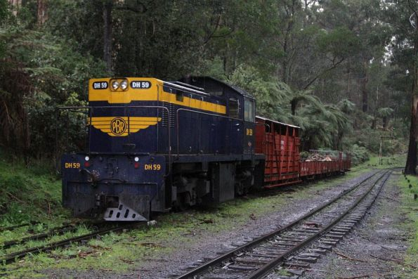 Diesel locomotive DH59 stabled on a goods trains at Belgrave