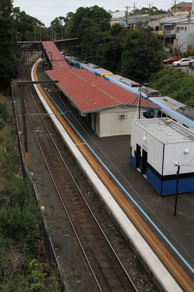 Blue line links the suburban station at Belgrave to Puffing Billy