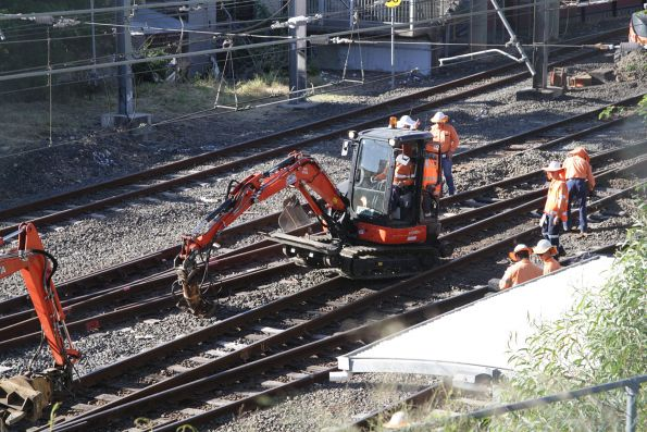 Excavators at work at Bowen Hills during trackwork