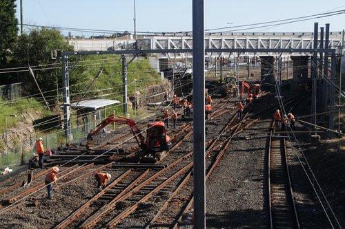 Excavators at work at Bowen Hills during trackwork
