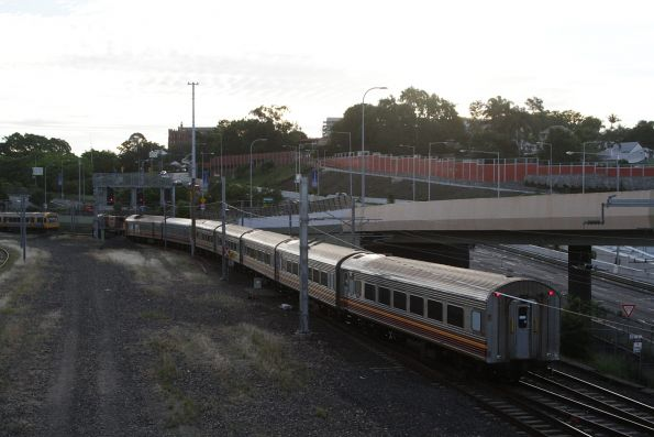 Almost at Roma Street, as the train crosses over to the eastern tracks at Normanby
