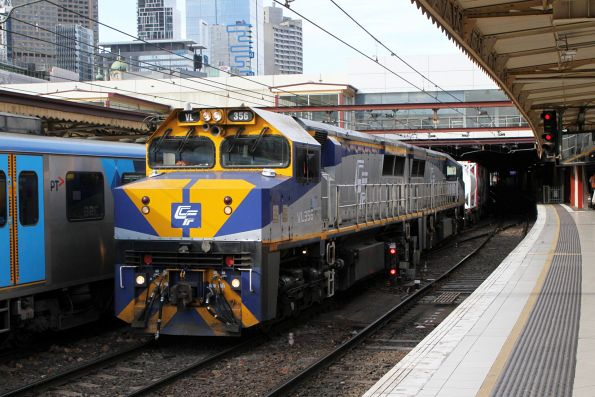 VL356 leads VL360 on the up Dandenong cement train at Flinders Street