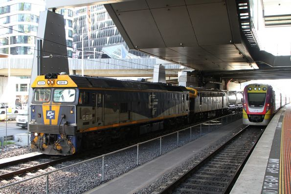 G515 and B80 waiting at Southern Cross with a Dandenong bound cement train