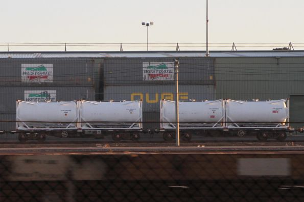 Cement tanktainers loaded on a stabled train at North Dynon