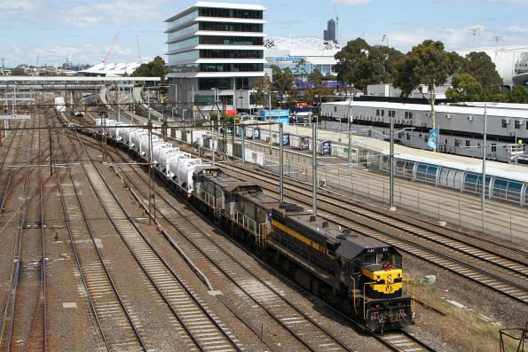 X31 leads T373 and T376 on the up cement train at Richmond Junction