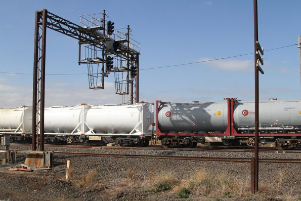 Cement tanktainers at the rear of the train