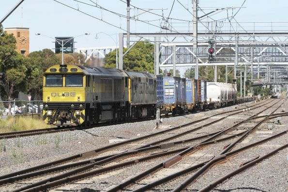 QBX005 leads 8044 through Sunshine on the northbound Qube cement train