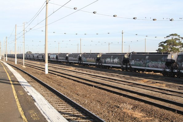 WGBY grain wagons stabled at Tottenham Yard on a broad gauge Qube grain train