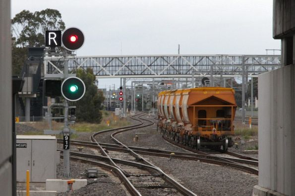 Tail end of the Kilmore East bound Apex train heads onto the suburban tracks at Sunshine