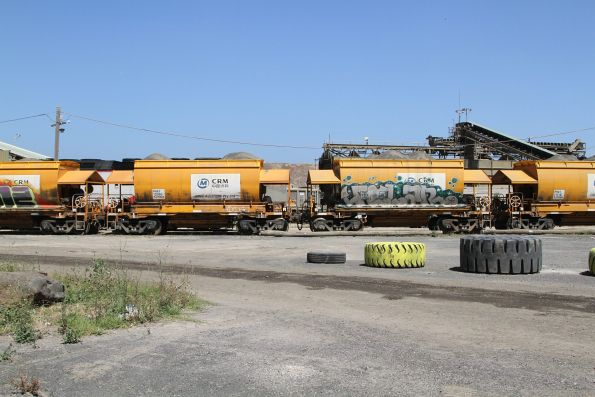 Loaded PHAY hopper wagons waiting to be unloaded at the Brooklyn quarry siding
