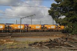 Apex train waiting on the goods lines at Melbourne Yard for a path east to Westall