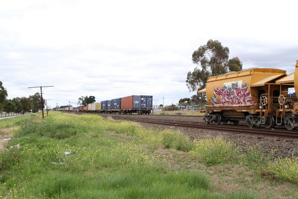 Tail end of standard gauge MC2 freight clears the the up Apex train at Albion