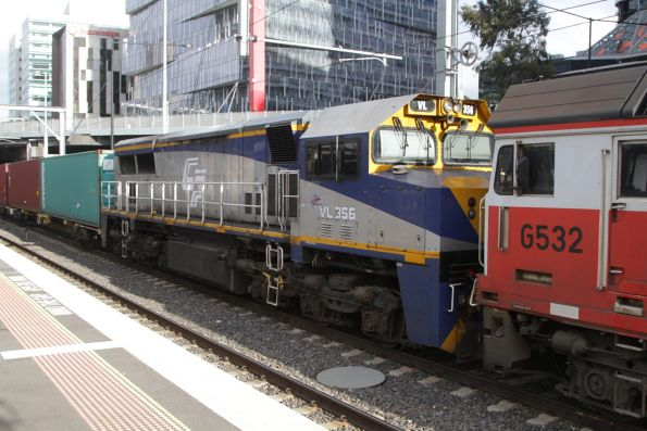 VL356 now on broad gauge, with G532 on the up Maryvale train at Southern Cross Station