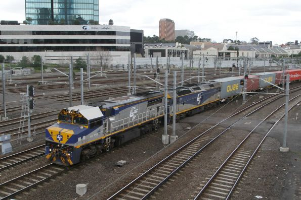 VL356 leads G515 on the up train at Federation Square
