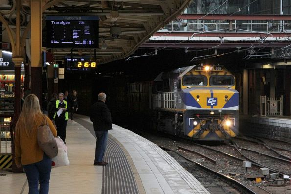 VL356 leads G521 on the up Maryvale freight at Flinders Street Station