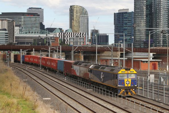 G512 leads G532 on the up Maryvale train at North Melbourne