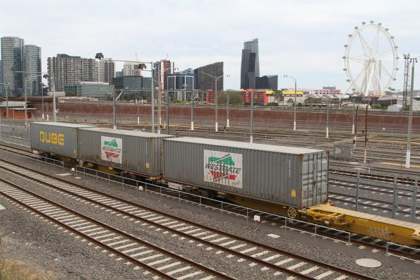 Three lonely containers at the rear of the Maryvale train at North Melbourne