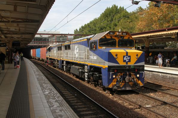 VL360 and VL356 on the up Maryvale paper train at Flinders Street Station