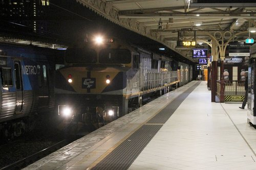VL356 leads VL360 on the down Maryvale paper train through Flinders Street Station