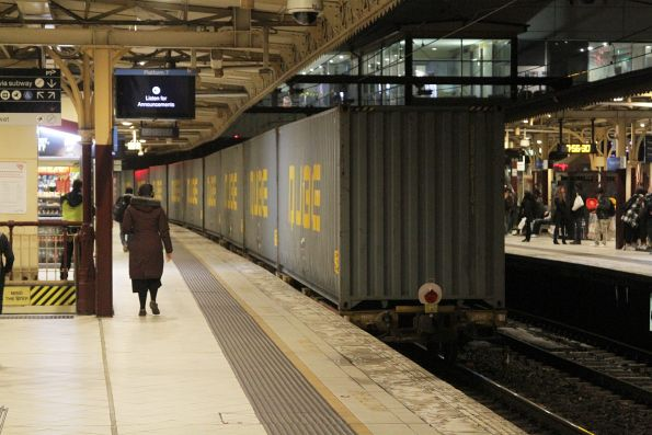 Tail end of the down Maryvale paper train through Flinders Street Station platform 7