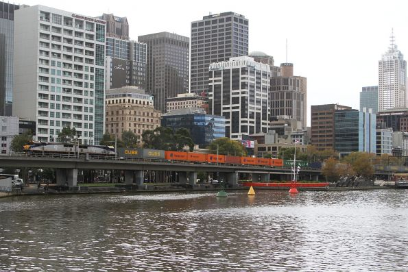 VL360 leads VL356 on the up Maryvale service across the Flinders Street viaduct