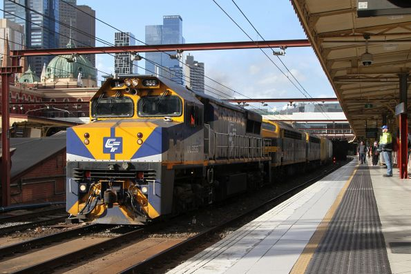 VL356 leads S303 and B80 on the up Maryvale freight at Flinders Street