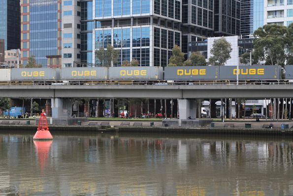 40 foot Qube containers in the consist of the up Maryvale freight on the Flinders Street Viaduct