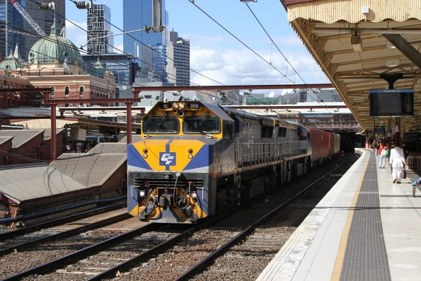 VL356 leads VL360 on the up Maryvale service at Flinders Street
