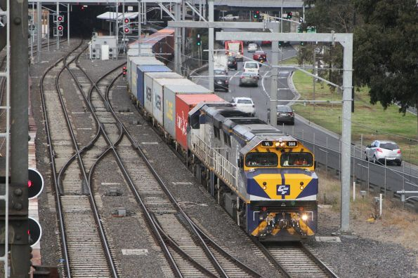 VL360 leads VL356 northbound on the goods lines at Southern Cross Station