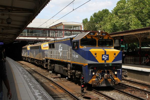 VL360 leads B80 and B76 on the up Maryvale freight through Flinders Street Station