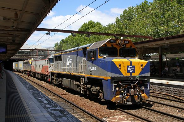 VL360 leads G521 and B80 on the up Maryvale freight through Flinders Street