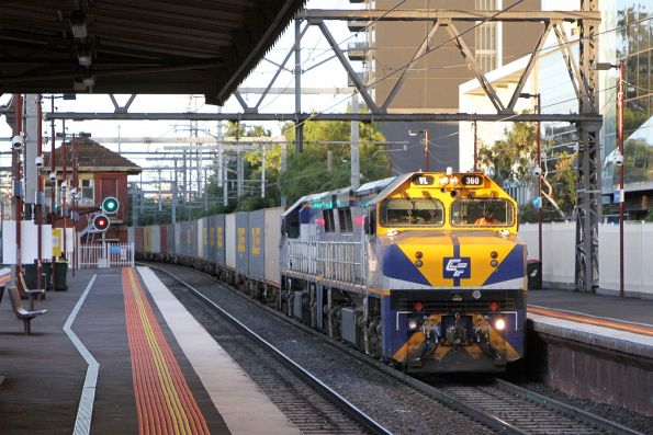 VL360 leads VL356 on the down Maryvale freight at South Yarra