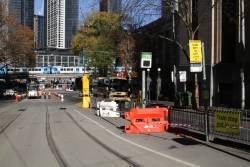 Tram stop at Flinders Lane and Market Street closed due to the Queensbridge Street tram works