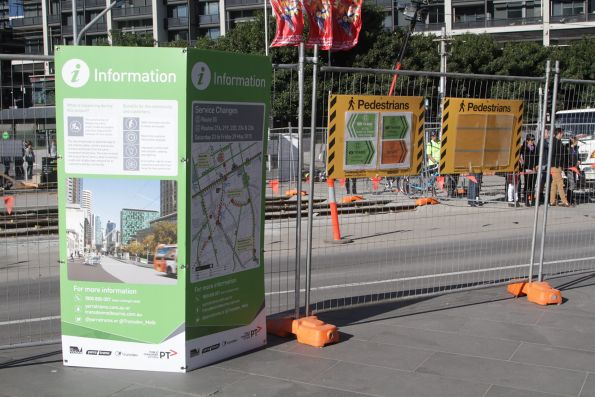 Directional signage outside Crown Casino during the Queensbridge Street tram works