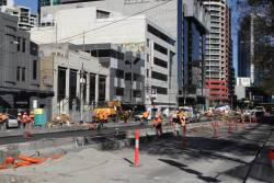 New bus and tram platform stop taking shape on Queensbridge Street, outside Crown Casino
