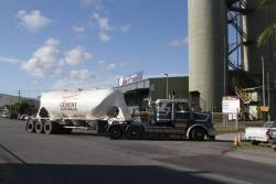 'Cement Australia' truck arrives at the Cairns terminal