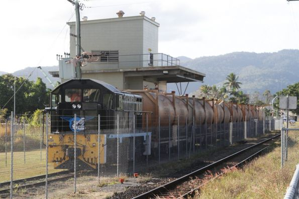Cairns Kuranda Steam Railway's ex-Emu Bay Railway 11 Class diesel 1101 shunting the cement siding at Cairns