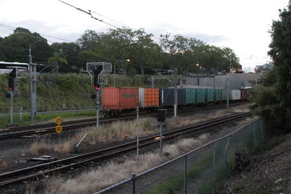 Tail end of a PN Queensland intermodal service on the Exhibition Loop at Roma Street