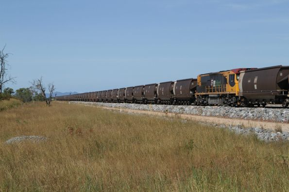 Aurizon 4104 is the mid-train locomotive on this Newlands System coal train at Euri