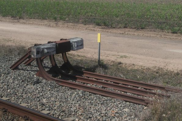 Buffer stops on a siding at Pioneer, just west of Ayr