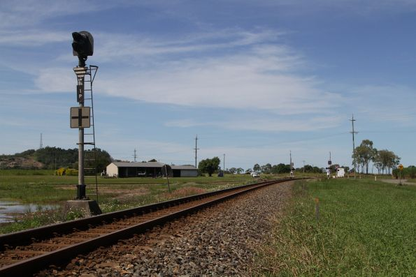 Signal for southbound trains approaching the cane tramway diamond crossing on the North Coast line at Foxdale