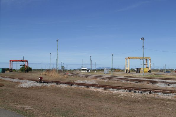 Toll (left) and Aurizon (right) freight yards at Merinda