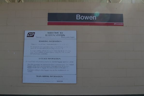 QR signage at Bowen station