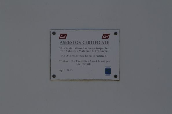 QR 'Asbestos Certificate' on a level crossing equipment room